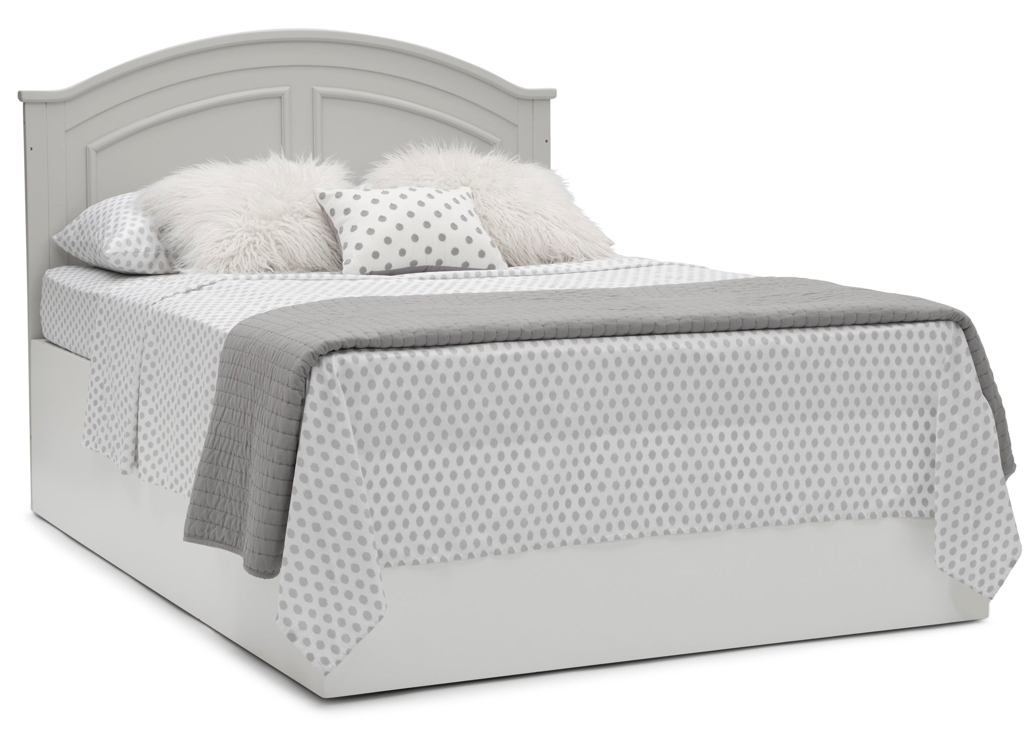 Delta Children Moonstruck Grey (1351) Perry 6-in-1 Convertible Crib, Right Full Bed with Headboard Silo View