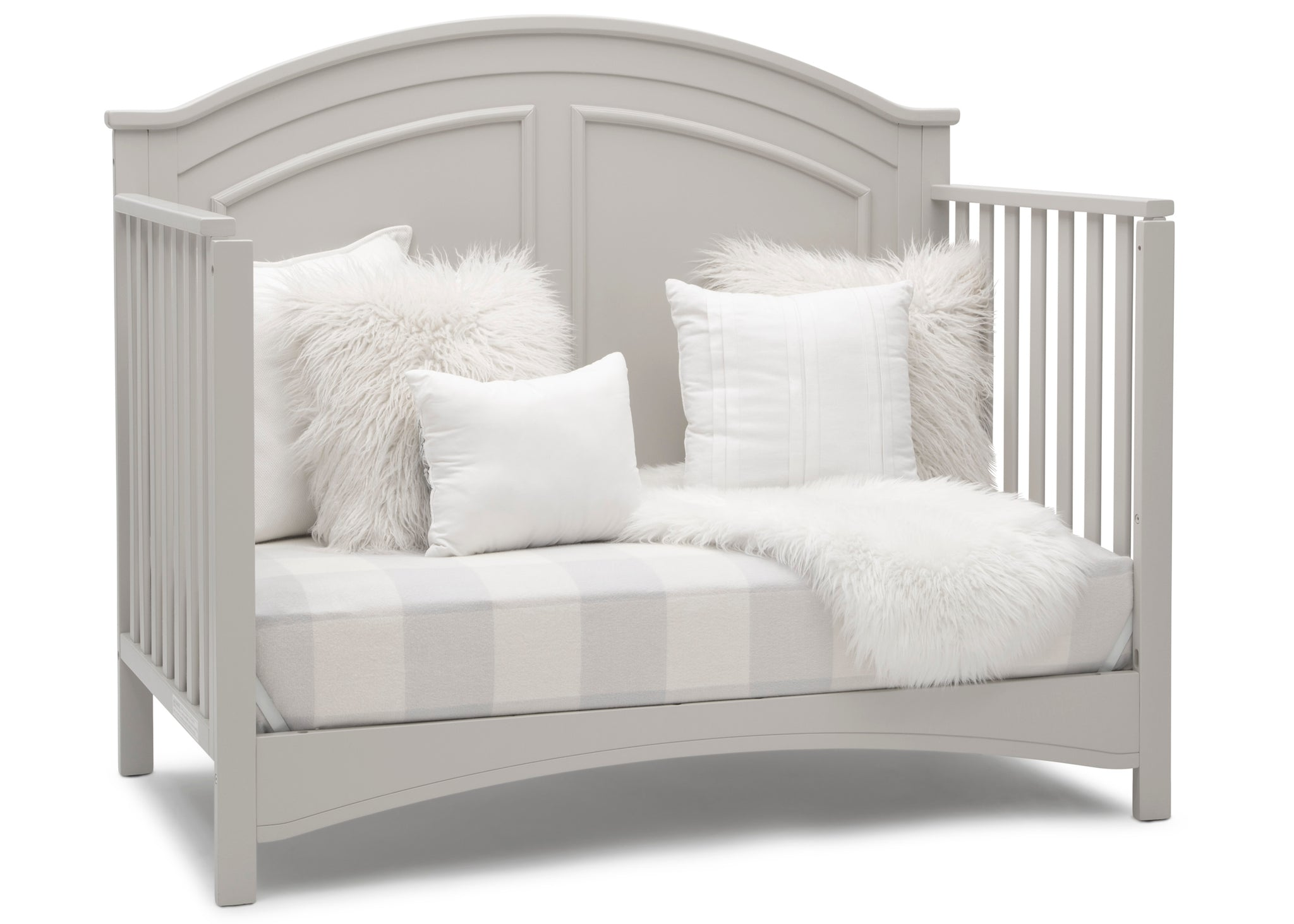 Delta Children Moonstruck Grey (1351) Perry 6-in-1 Convertible Crib, Right Sofa Silo View