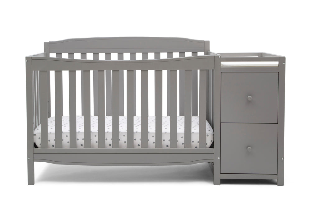 Delta Children Grey (026) Mason Convertible 6-in-1 Crib and Changer, Front Crib Silo View