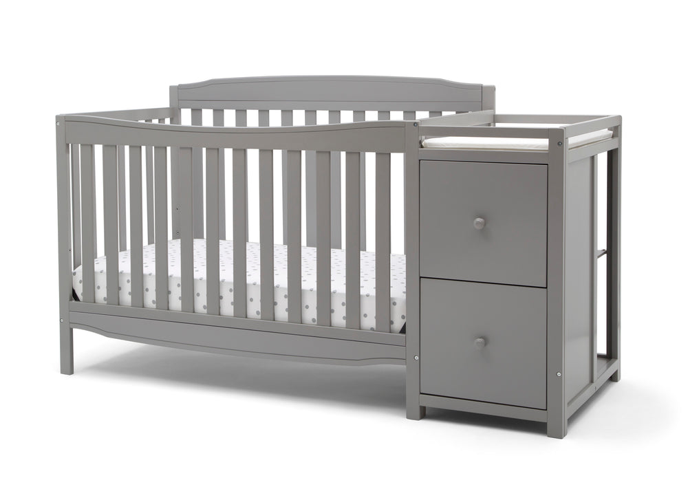 Delta Children Grey (026) Mason Convertible 6-in-1 Crib and Changer, Left Crib Silo View