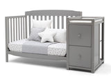 Delta Children Grey (026) Mason Convertible 6-in-1 Crib and Changer, Left Day Bed Silo View