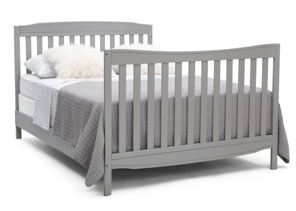 Delta Children Grey (026) Mason Convertible 6-in-1 Crib and Changer, Right Full Bed with Headboard and Footboard Silo View