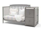 Delta Children Grey (026) Mason Convertible 6-in-1 Crib and Changer, Left Sofa Silo View