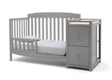 Delta Children Grey (026) Mason Convertible 6-in-1 Crib and Changer, Left Toddler Bed Silo View