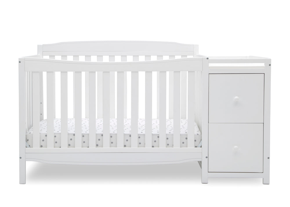 Delta Children Bianca White (130) Mason Convertible 6-in-1 Crib and Changer, Front Crib Silo View
