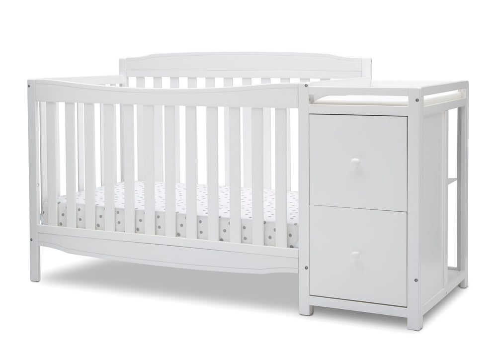 Delta Children Bianca White (130) Mason Convertible 6-in-1 Crib and Changer, Left Crib Silo View