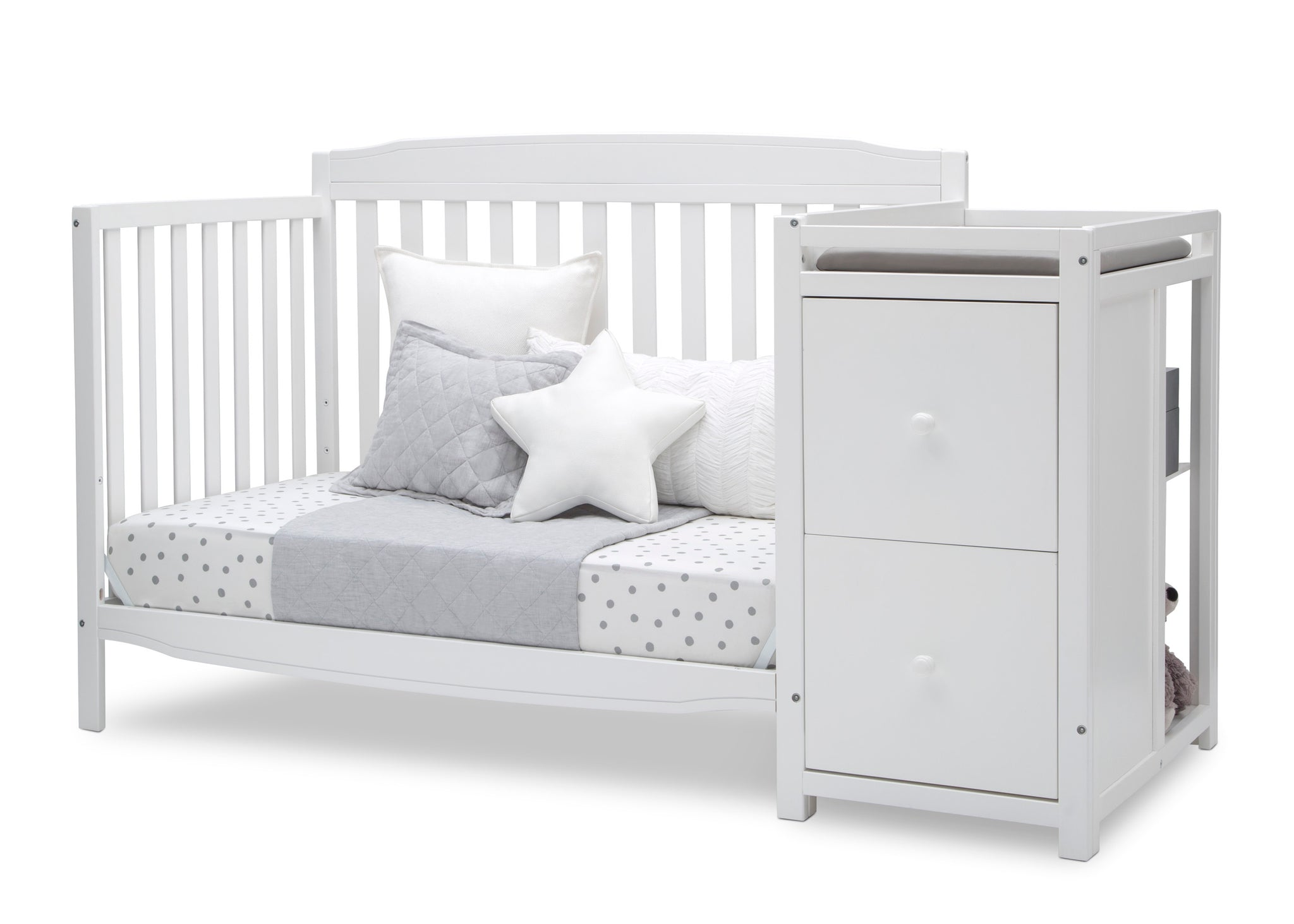 Delta Children Bianca White (130) Mason Convertible 6-in-1 Crib and Changer, Left Day Bed Silo View