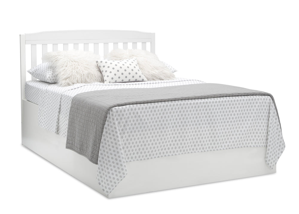 Delta Children Bianca White (130) Mason Convertible 6-in-1 Crib and Changer, Right Full Bed with Headboard Silo View