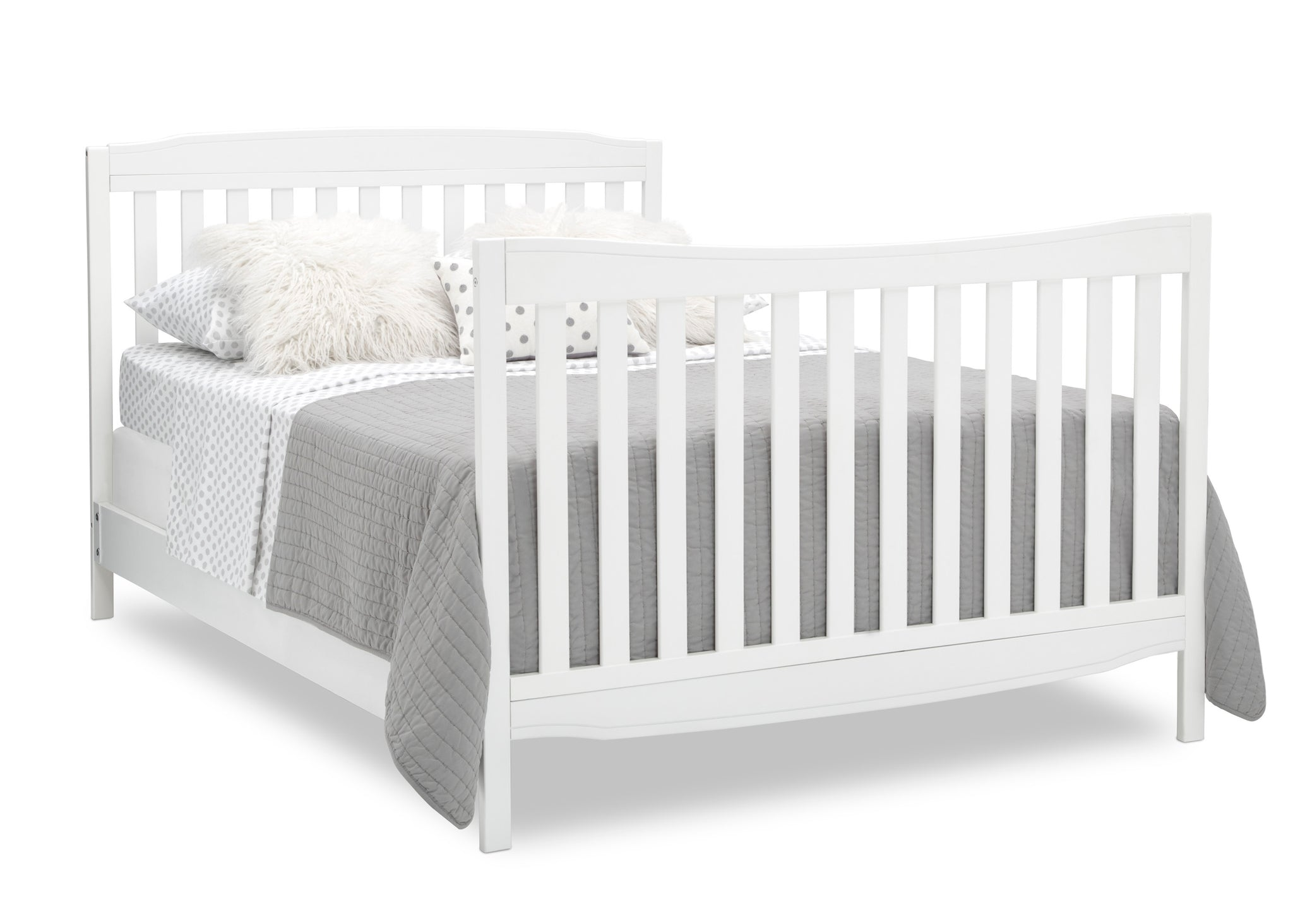 Delta Children Bianca White (130) Mason Convertible 6-in-1 Crib and Changer, Right Full Bed with Headboard and Footboard Silo View