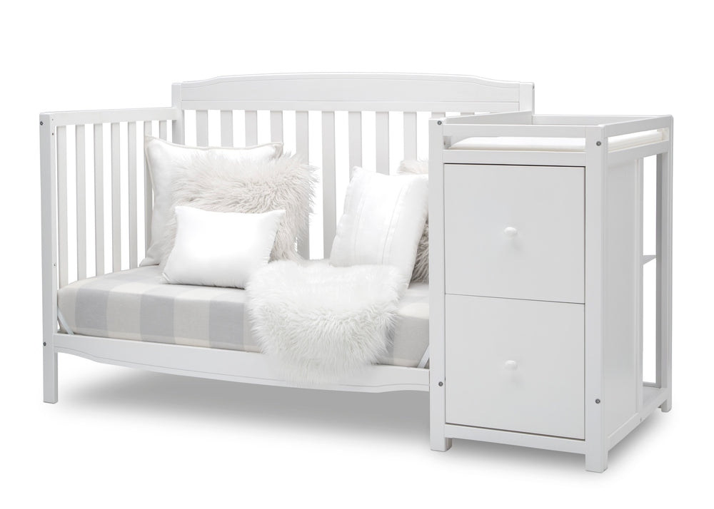 Delta Children Bianca White (130) Mason Convertible 6-in-1 Crib and Changer, Left Sofa Silo View