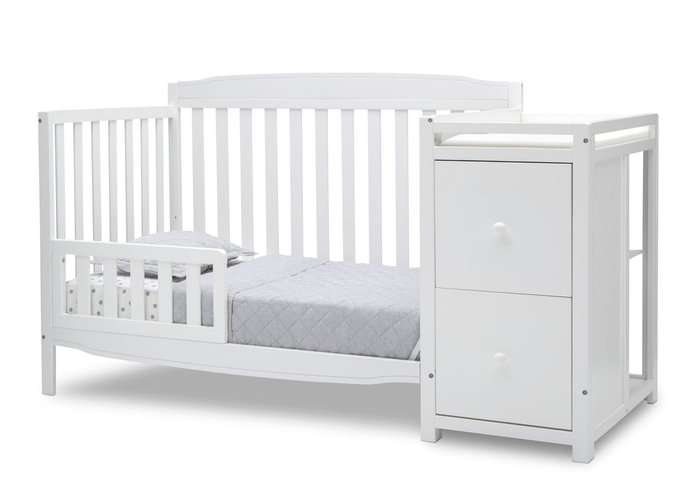 Delta Children Bianca White (130) Mason Convertible 6-in-1 Crib and Changer, Left Toddler Bed Silo View