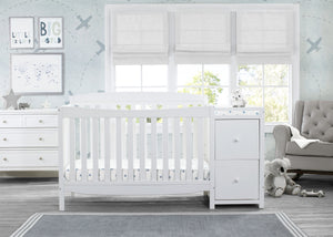 Delta Children Bianca White (130) Mason Convertible 6-in-1 Crib and Changer, Room View