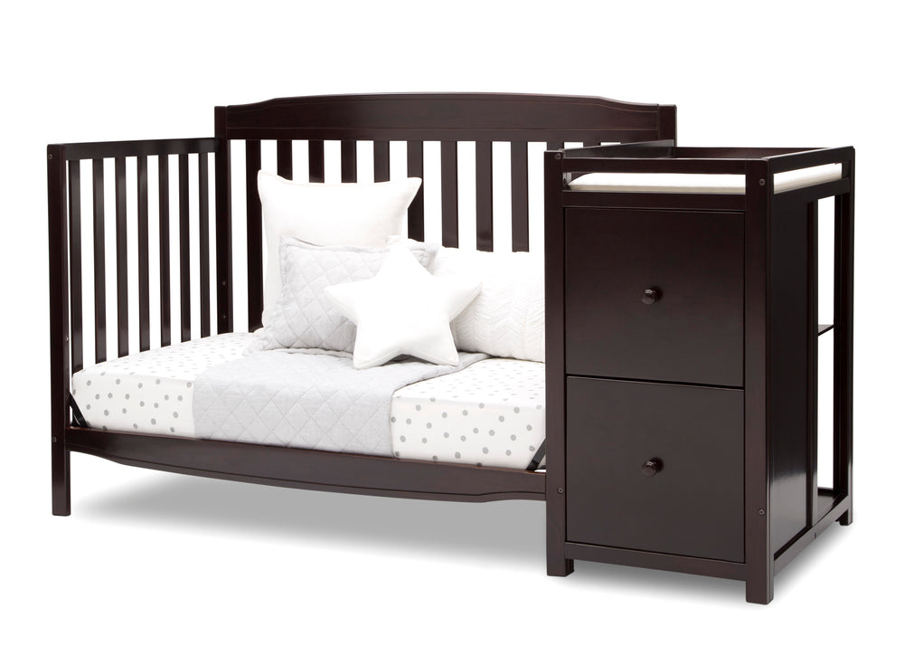 Delta Children Dark Chocolate (207) Mason Convertible 6-in-1 Crib and Changer, Left Day Bed Silo View