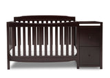 Delta Children Dark Chocolate (207) Mason Convertible 6-in-1 Crib and Changer, Front Crib Silo View