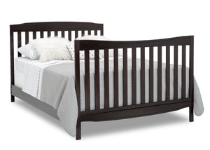 Delta Children Dark Chocolate (207) Mason Convertible 6-in-1 Crib and Changer, Right Full Bed with Headboard and Footboard Silo View