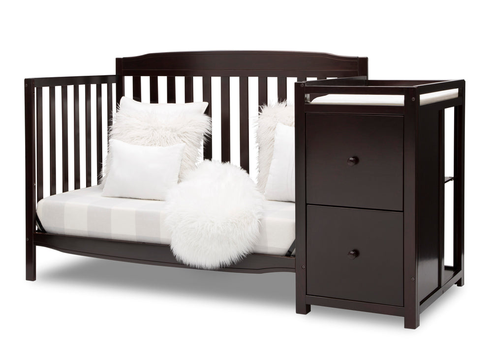Delta Children Dark Chocolate (207) Mason Convertible 6-in-1 Crib and Changer, Left Sofa Silo View