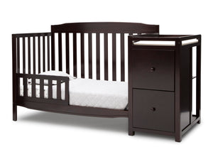 Delta Children Dark Chocolate (207) Mason Convertible 6-in-1 Crib and Changer, Left Toddler Bed Silo View