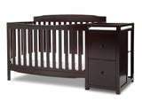 Delta Children Dark Chocolate (207) Mason Convertible 6-in-1 Crib and Changer, Left Crib Silo View