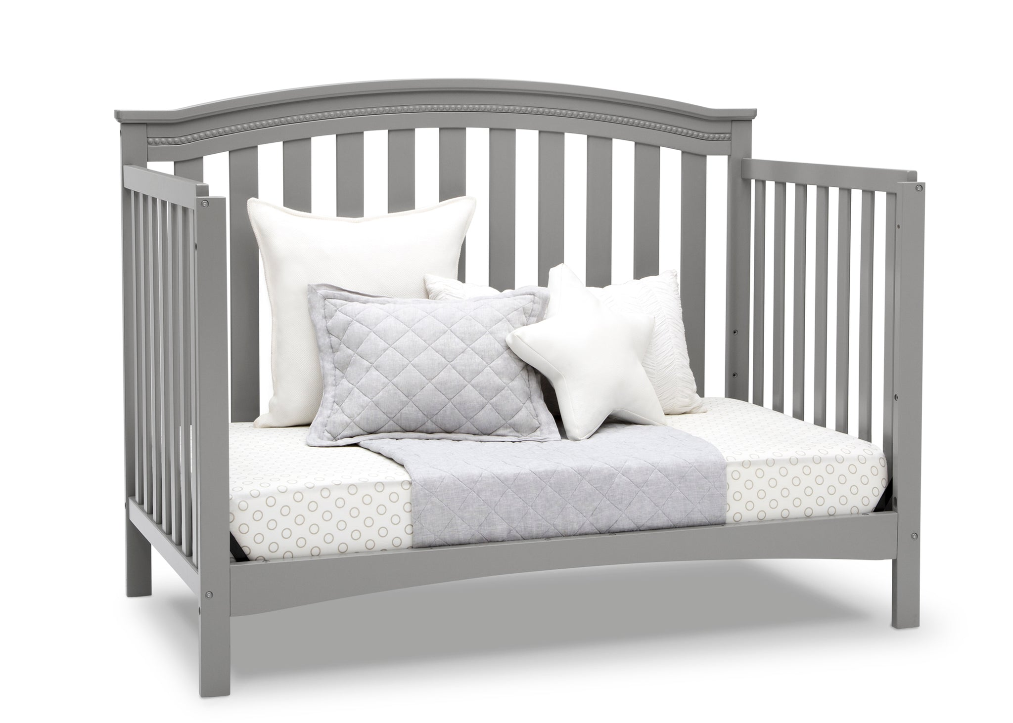 Delta Children Grey (026) Waverly 6-in-1 Convertible Crib, Right Day Bed Silo View