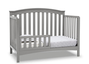 Delta Children Grey (026) Waverly 6-in-1 Convertible Crib, Right Toddler Bed Silo View