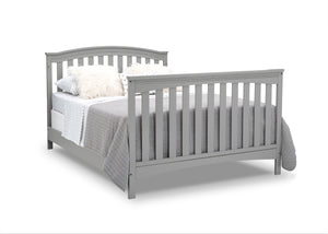 Delta Children Grey (026) Waverly 6-in-1 Convertible Crib, Right Full Bed with Headboard and Footboard Silo View