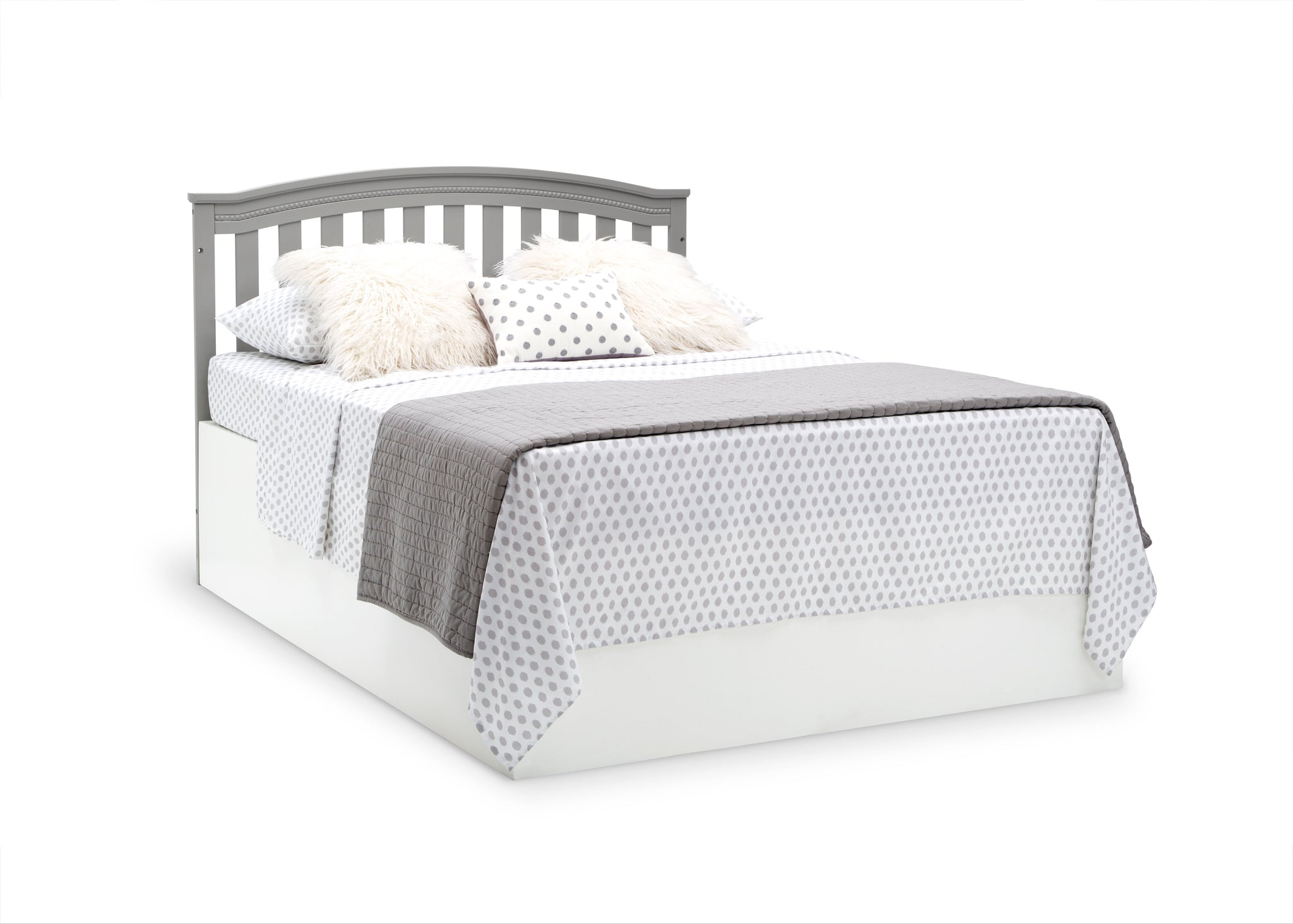 Delta Children Grey (026) Waverly 6-in-1 Convertible Crib, Right Full Bed with Headboard Silo View