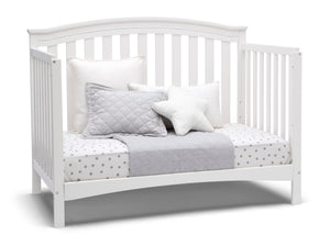 Delta Children Bianca White (130) Waverly 6-in-1 Convertible Crib, Right Day Bed Silo View