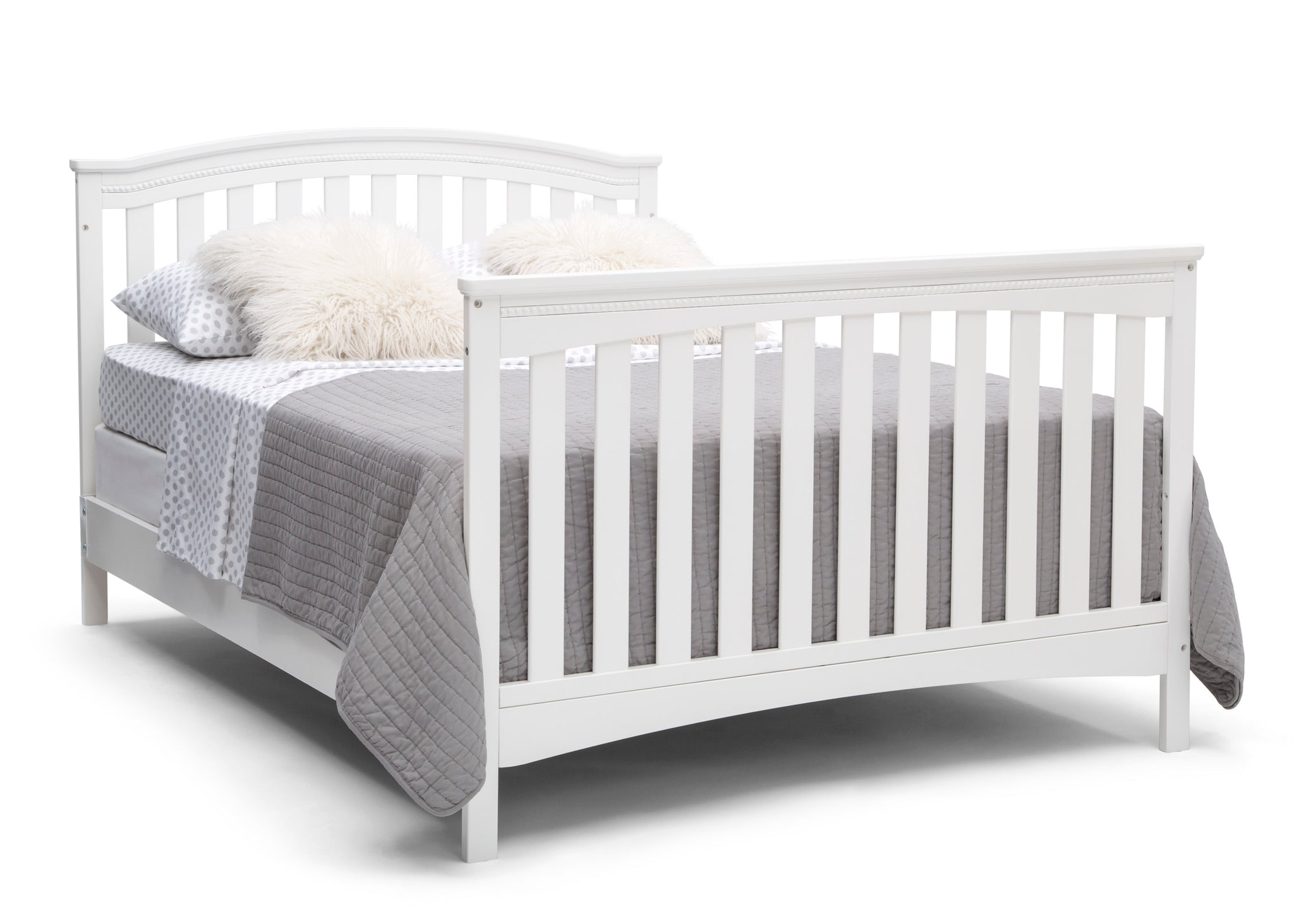 Delta Children Bianca White (130) Waverly 6-in-1 Convertible Crib, Right Full Bed with Headboard and Footboard Silo View
