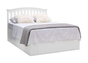 Delta Children Bianca White (130) Waverly 6-in-1 Convertible Crib, Right Full Bed with Headboard Silo View