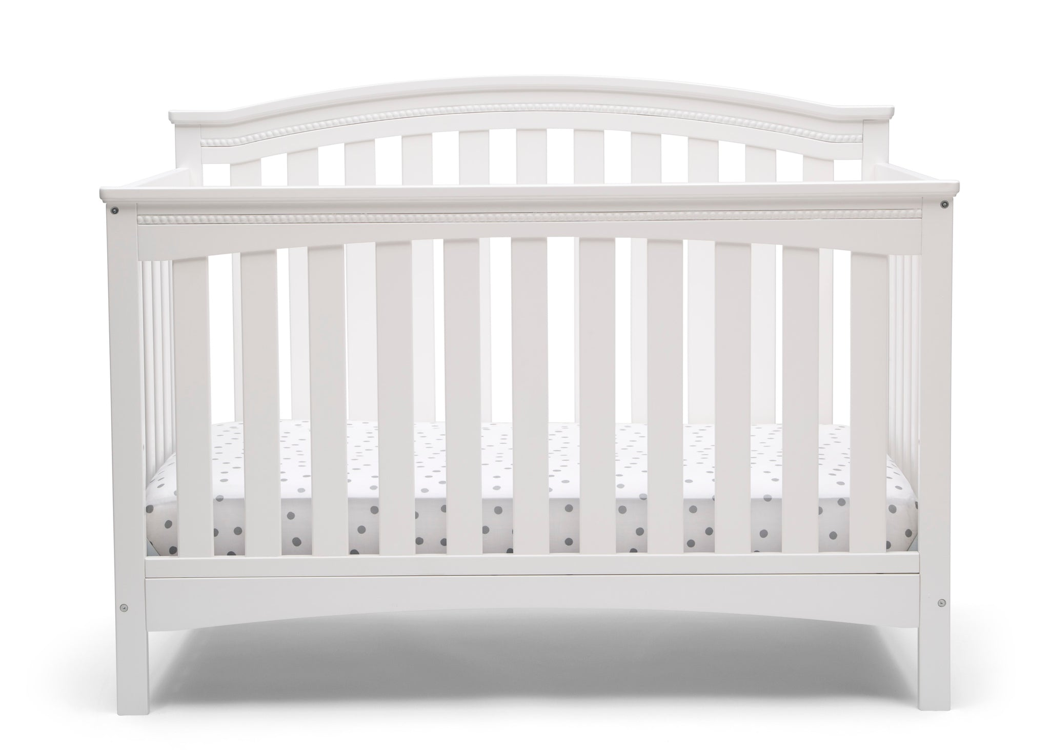Delta Children Bianca White (130) Waverly 6-in-1 Convertible Crib, Front Crib Silo View
