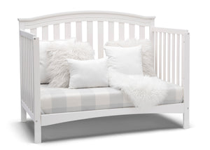Delta Children Bianca White (130) Waverly 6-in-1 Convertible Crib, Right Sofa Silo View