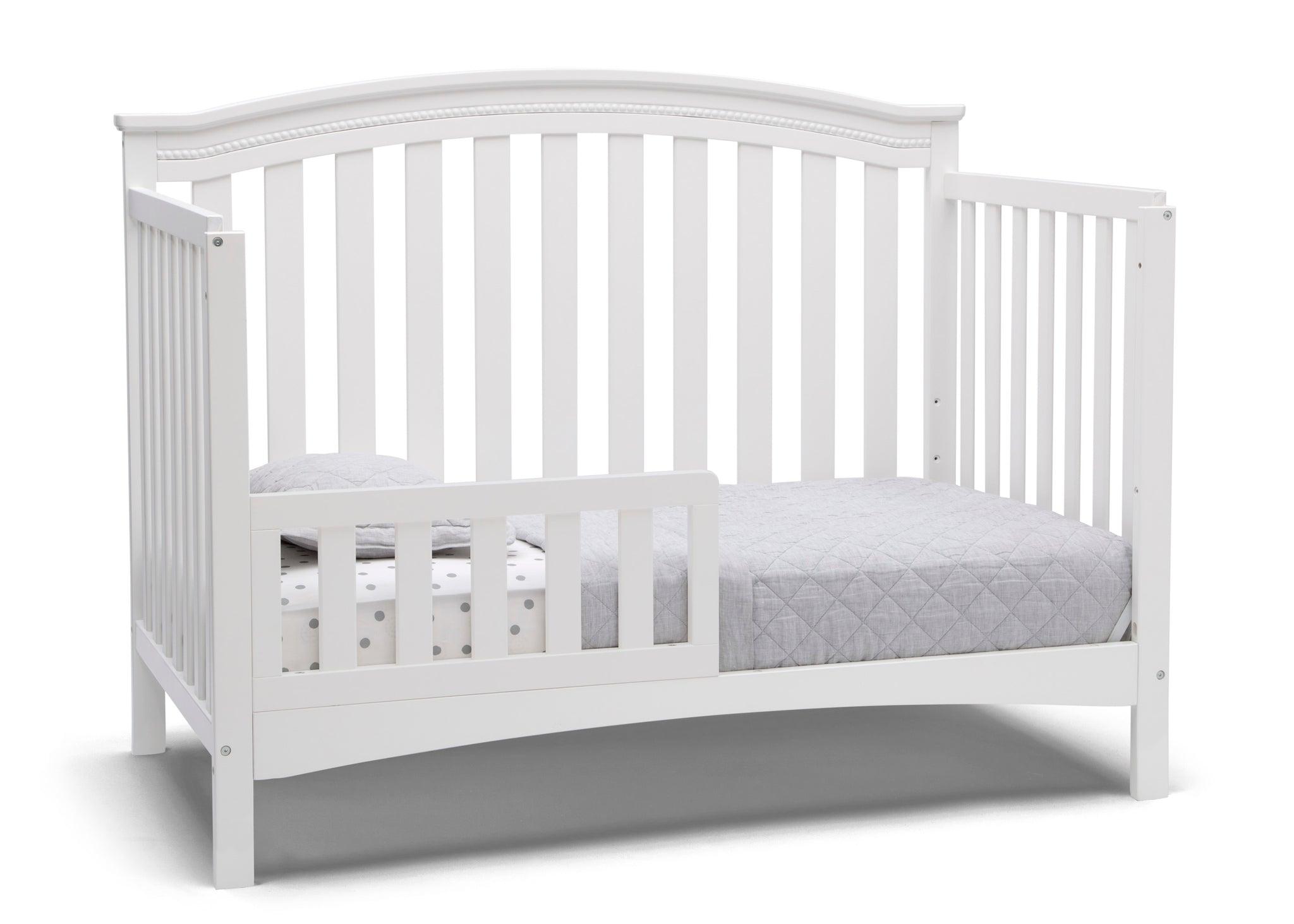 Delta Children Bianca White (130) Waverly 6-in-1 Convertible Crib, Right Toddler Bed Silo View