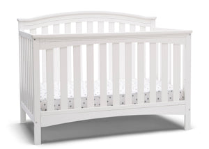 Delta Children Bianca White (130) Waverly 6-in-1 Convertible Crib, Right Crib Silo View