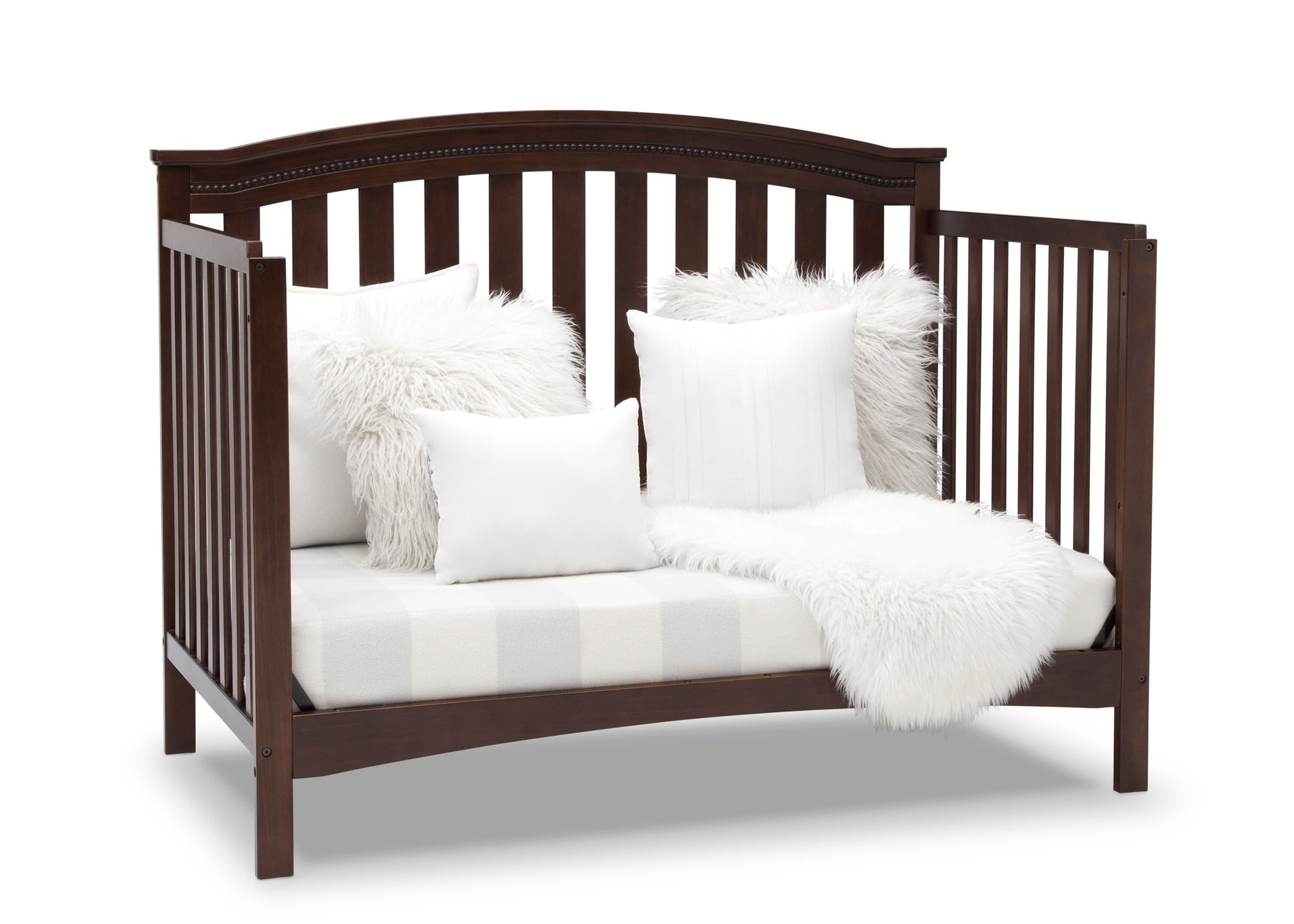 Delta Children Walnut Espresso (1324) Waverly 6-in-1 Convertible Crib, Right Sofa Silo View