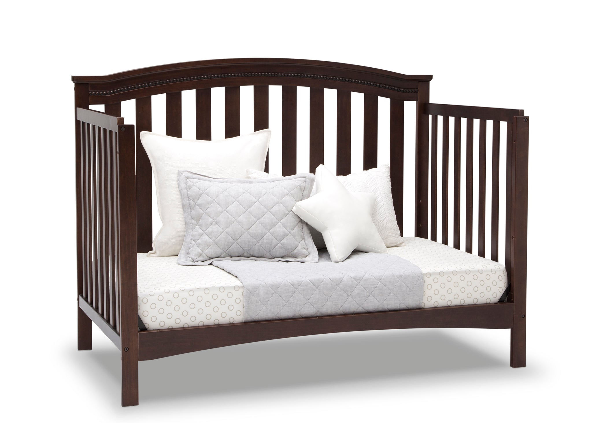 Delta Children Walnut Espresso (1324) Waverly 6-in-1 Convertible Crib, Right Day Bed Silo View
