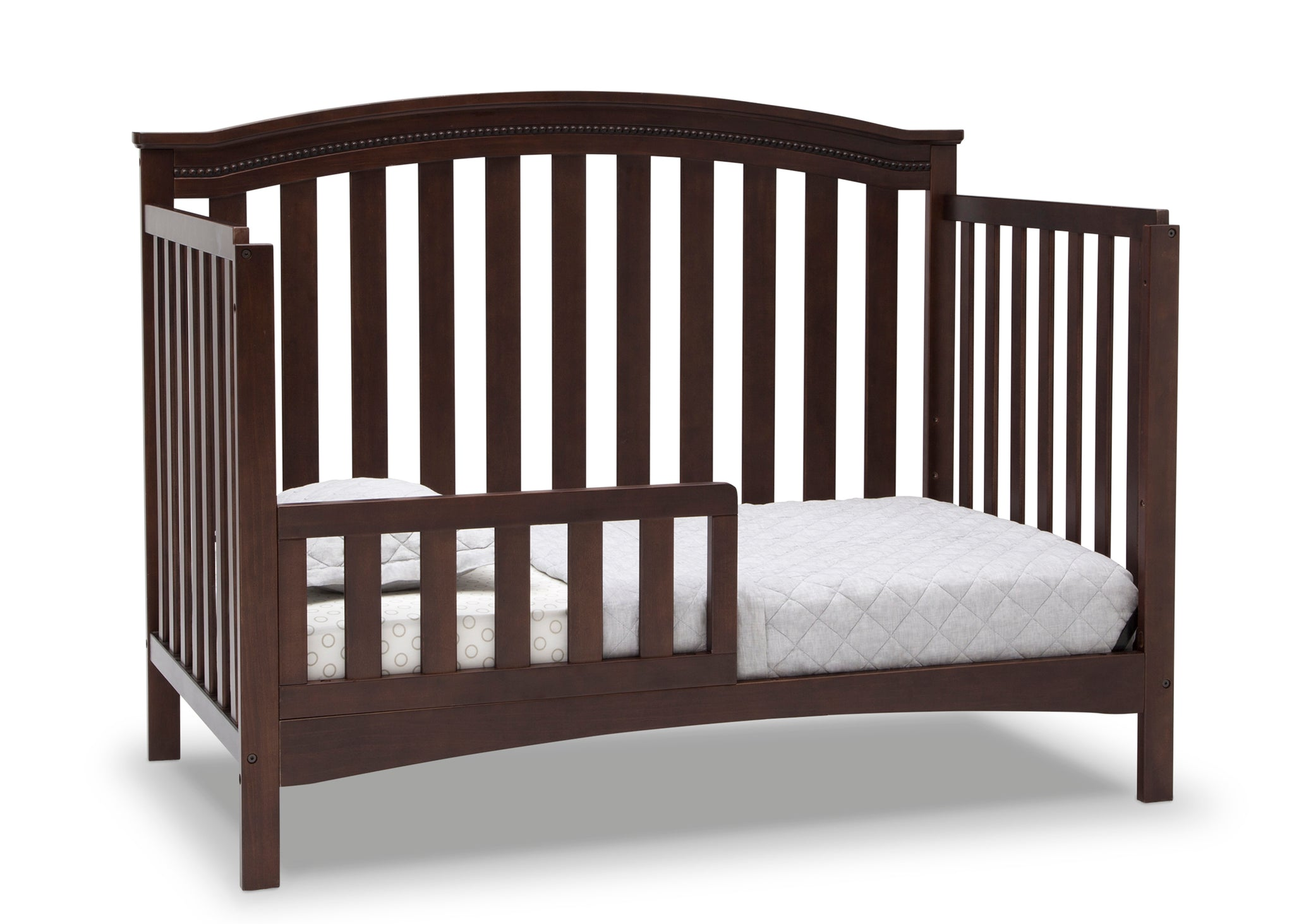 Delta Children Walnut Espresso (1324) Waverly 6-in-1 Convertible Crib, Right Toddler Bed Silo View