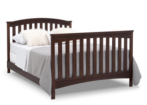Delta Children Walnut Espresso (1324) Waverly 6-in-1 Convertible Crib, Right Full Bed with Headboard and Footboard Silo View