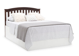 Delta Children Walnut Espresso (1324) Waverly 6-in-1 Convertible Crib, Right Full Bed with Headboard Silo View