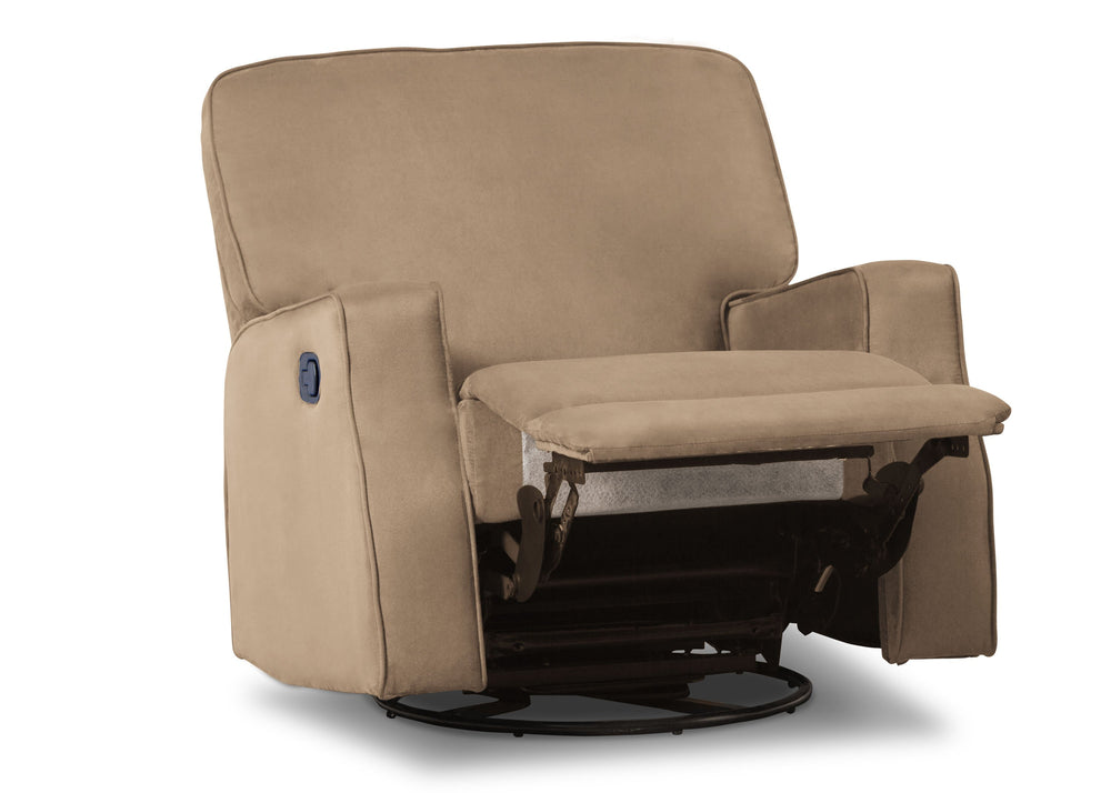 Delta Children Beige (276) Caleb Nursery Recliner Glider Swivel Chair (W1520210C), Silo Reclined, a4a
