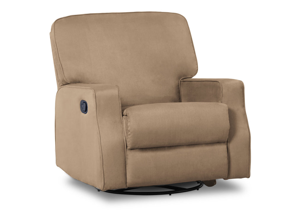 Delta Children Beige (276) Caleb Nursery Recliner Glider Swivel Chair (W1520210C), Silo Side, a2a