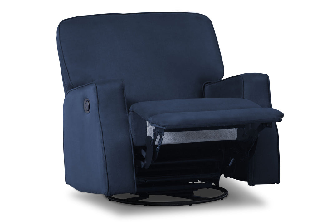 Delta Children Navy (467) Caleb Nursery Recliner Glider Swivel Chair (W1520210C), Silo Reclined, b4b