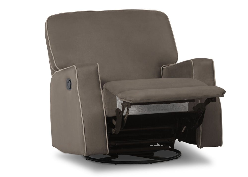 Delta Children Graphite with Dove Welt (944) Caleb Nursery Recliner Glider Swivel Chair (W1520210C), Silo Reclined, c4c