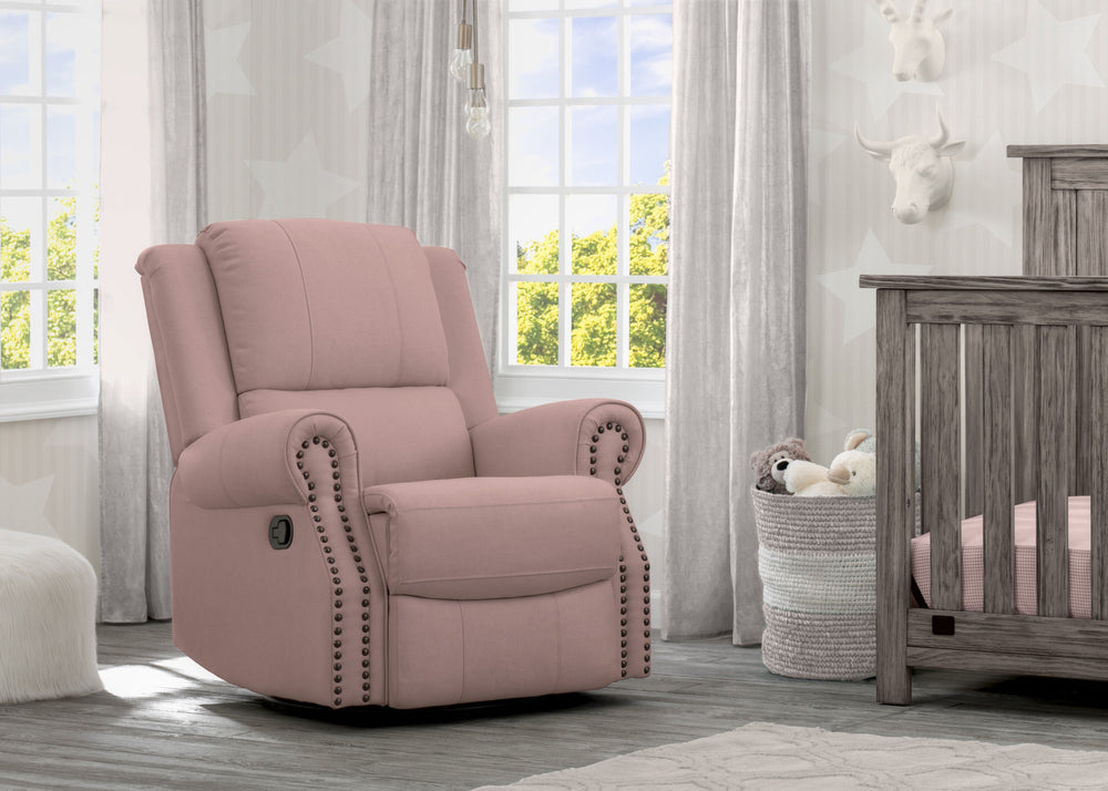 Delta Children Blush (636) Drake Nursery Recliner Swivel Glider Chair (W3524310C), Hangtag, a1a