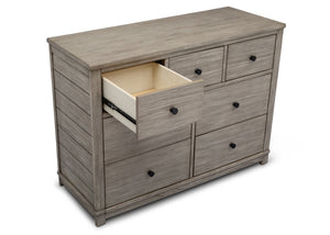 Simmons Kids Rustic White (119) Monterey 7 Drawer Dresser, Open Drawer View