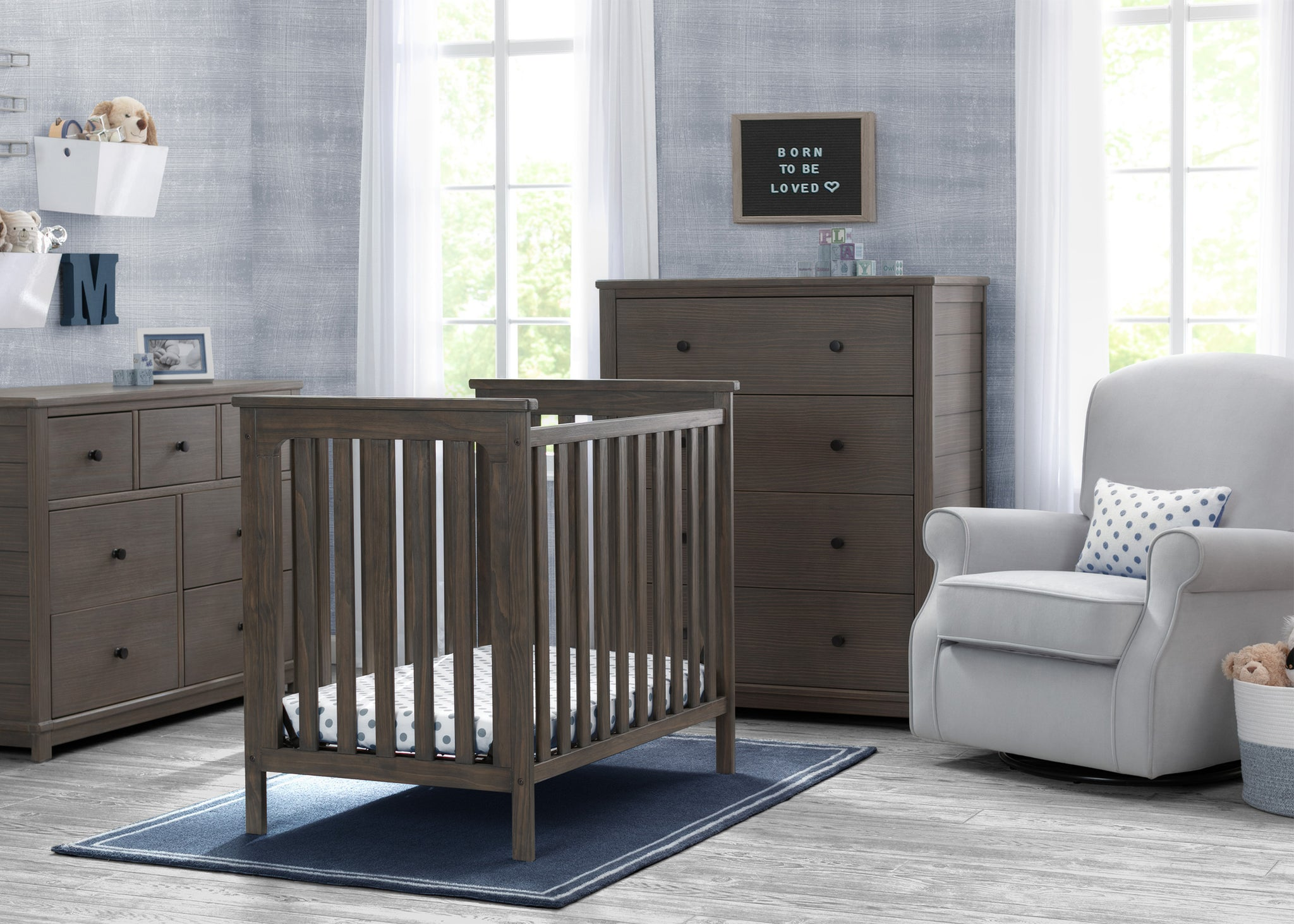 Delta Children Rustic Grey (084) Monterey Mini Crib with Mattress, Room View
