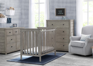 Delta Children Rustic White (119) Monterey Mini Crib with Mattress, Room View