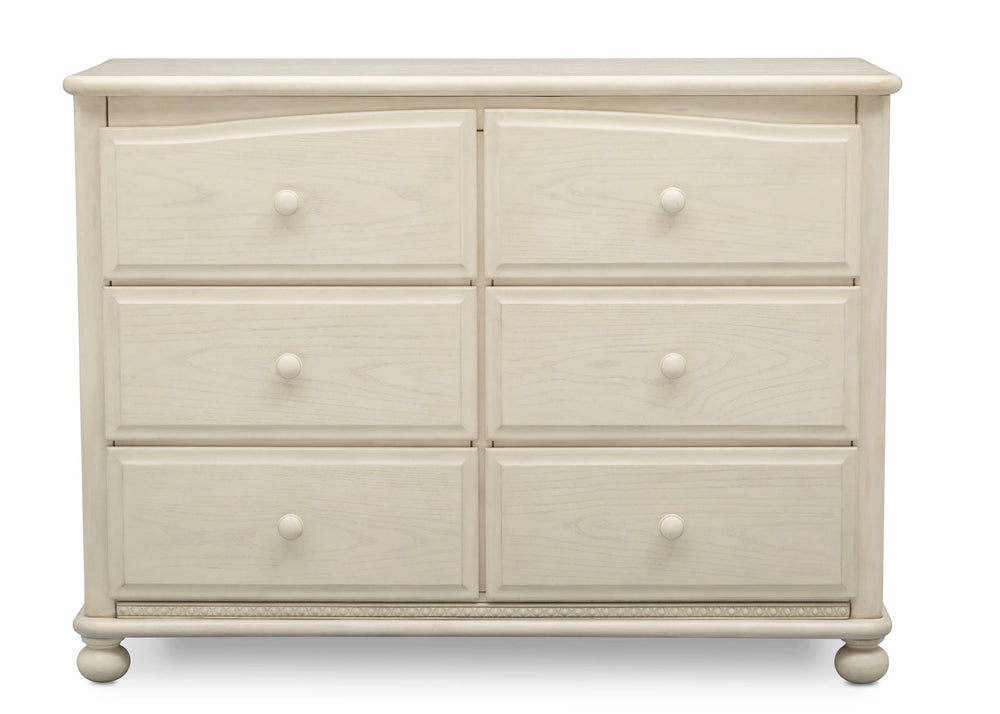 Simmons Kids Antique White (122) Cortona 6 Drawer Dresser, Front Facing Silo, a2a
