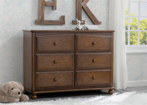 Simmons Kids Antique Chestnut (2100) Cortona 6 Drawer Dresser, Hangtag, c1c