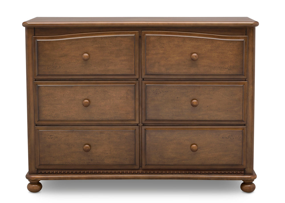 Simmons Kids Antique Chestnut (2100) Cortona 6 Drawer Dresser, Front Facing Silo, c2c