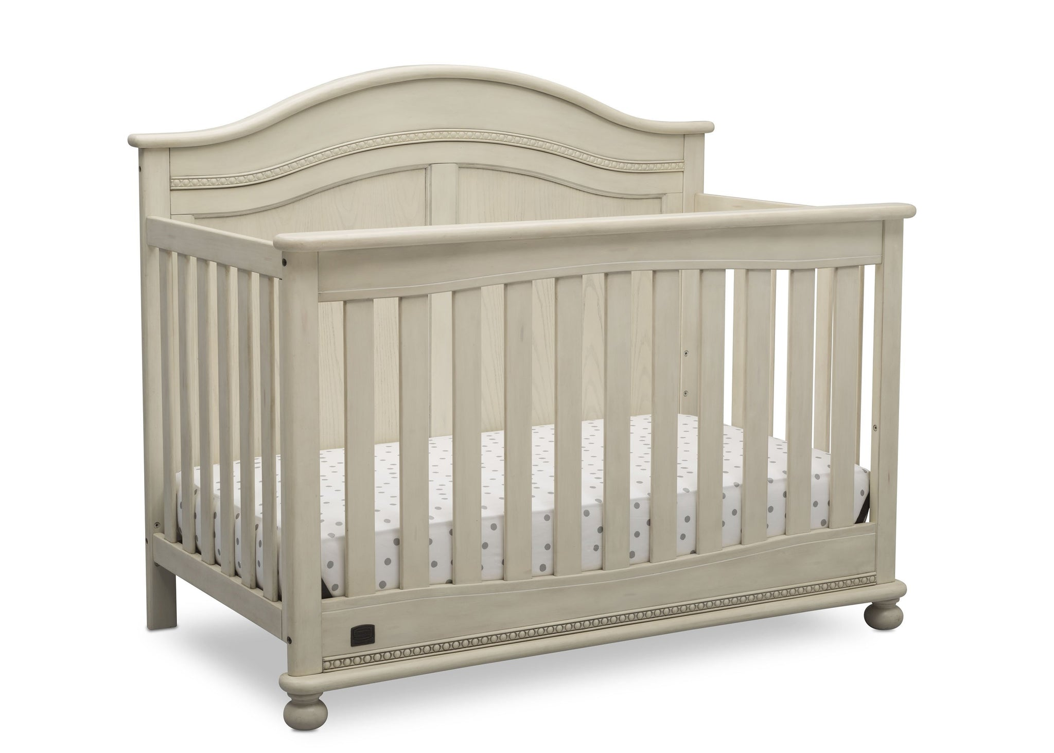 Simmons Kids Antique White (122) Bedford 4-in-1 Convertible Crib (W337150) right silo, a3a